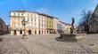 Empty Lviv streets during COVID-19 Quarantine. Amphitrite fountain on Market square in Lviv.