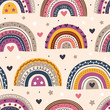 seamless pattern with beautiful rainbows on beige background - vector illustration, eps