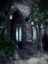 Gothic Chapel With Lanterns, Ivy And A Tree In The Forest At Night. 3D Render.