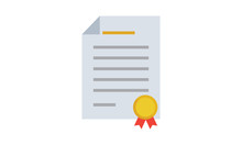 Certificate Icon Diploma Symbol Flat On Isolated Vector Illustration.