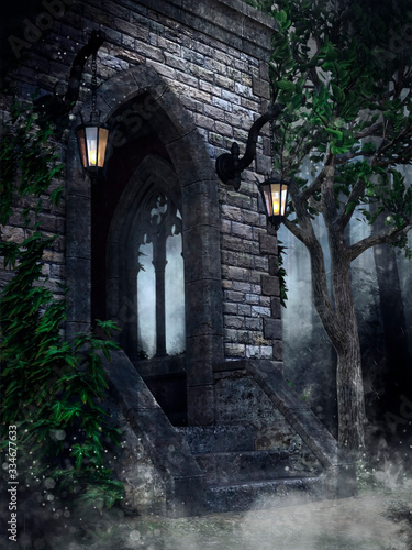 Slika na platnu Gothic chapel with lanterns, ivy and a tree in the forest at night