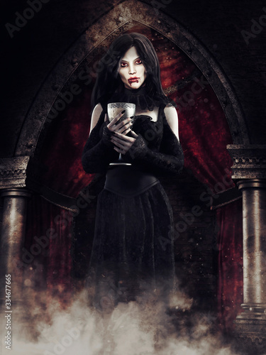 Gothic scene with a vampire girl standing with a chalice in an old mansion Canvas