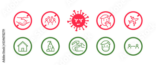 Obraz Coronavirus icon set for infographic with prevention tips and recommendations. Isolated corona virus flat signs with precautions and preventions to stop spreading. - fototapety do salonu