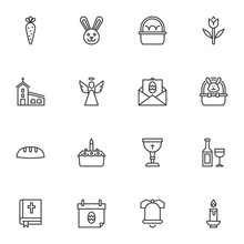 Happy Easter Line Icons Set. L...