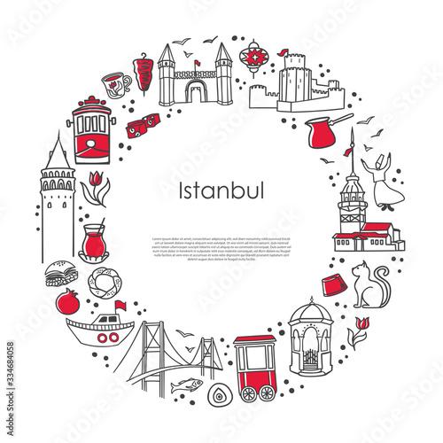 Tela Modern vector illustration Istanbul, Turkey