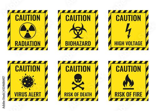 Fotografie, Obraz Warning signs set - danger, radiation, biohazard, death, voltage, flame, virus