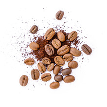 Roasted Coffee Beans With Grou...