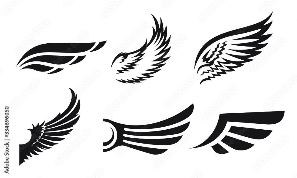 Fototapeta Set of different wings vector illustration. Simple logo or sign design elements.