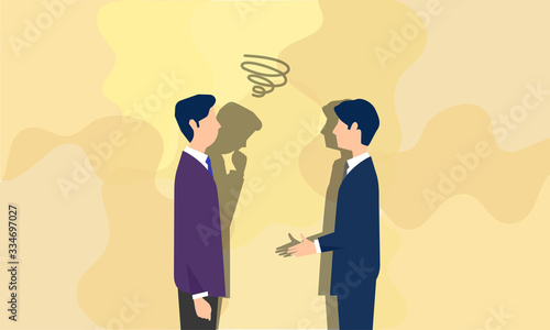 Fotografie, Obraz 会話する二人のビジネスパーソン