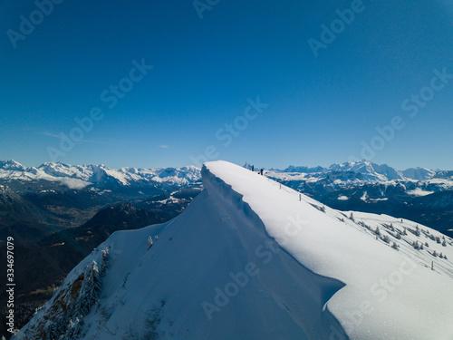 Photographie aérienne des alpes française en hiver Fototapet