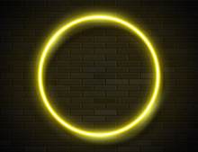 Neon Glowing Circle Yellow Fra...