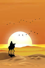 Vector Illustration Arab Man With Camel Walking In Desert Sands With Sunset In Evening,Vertical Landscape Scenery Of Sun Over Mountains During Twilight In Orange Color Above Desert And Sand Dunes.