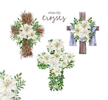 Easter Floral Cross Set Illustration. Watercolor Rustic Wooden Cross Wreath And Beautiful White Lily Flowers Bouquet With Green Leaves For Easter Decor, Cards, Greetings.