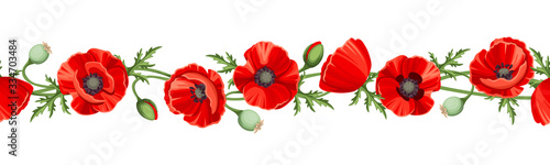 Obraz Vector horizontal seamless border with red poppy flowers on a white background. - fototapety do salonu