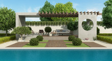 Luxury Garden With Concrete Ga...