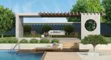 Modern Garden With Concrete Ga...