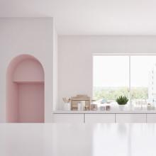 Modern White And Pink Kitchen ...