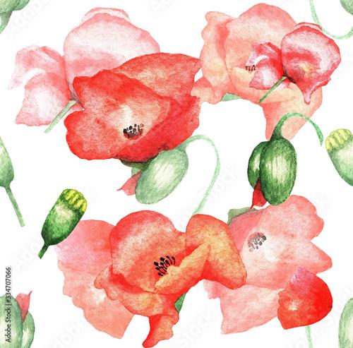 Obraz maki   poppies-pattern-watercolor-4