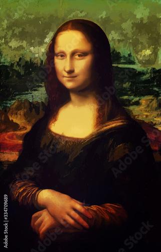 Cuadros en Lienzo monna lisa La Joconde - Leonardo da Vinci painting in Low Poly style