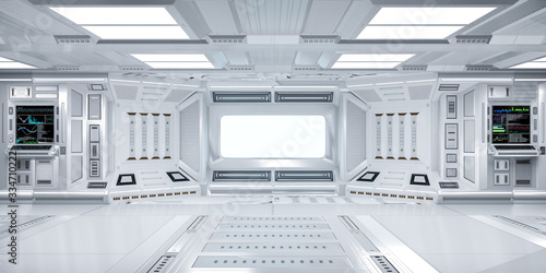 Futuristic Sci-Fi Hallway Interior with  Computer and Monitor Screen on Wall, 3D Wallpaper Mural