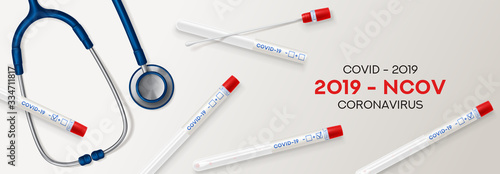 Fotografia Test tubes with cotton swab for nasopharyngeal specimens