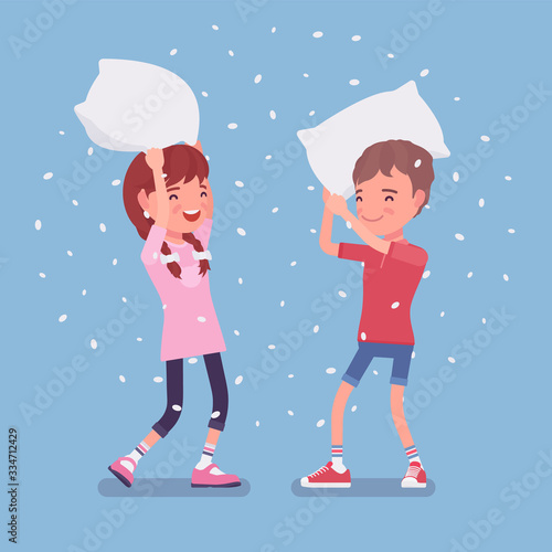 Fototapeta Pillow fight game, boy and girl kids enjoy free time at home. Sleepover fun, pajamas party or slumber entertainment for young children staying in house. Vector flat style cartoon illustration obraz