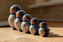 Bristol-March-2020-England -a Close Up View Of Five Russian Nesting Dolls All Facing Out Away From The Open Window