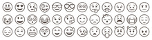 Emoticons Set. Emoji Faces Col...