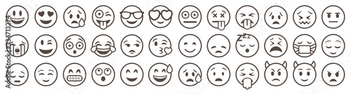 Emoticons set. Emoji faces collection. Emojis flat style. Happy and sad emoji. Line smiley face - stock vector