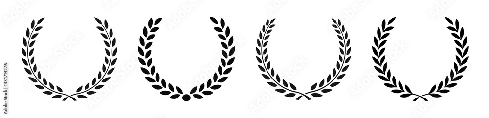 Fototapeta Set black silhouette circular laurel foliate, wheat and oak wreaths depicting an award, achievement, heraldry, nobility on white background. Emblem floral greek branch flat style - stock vector