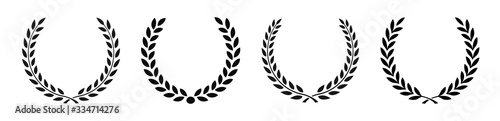 Set black silhouette circular laurel foliate, wheat and oak wreaths depicting an award, achievement, heraldry, nobility on white background Fototapeta