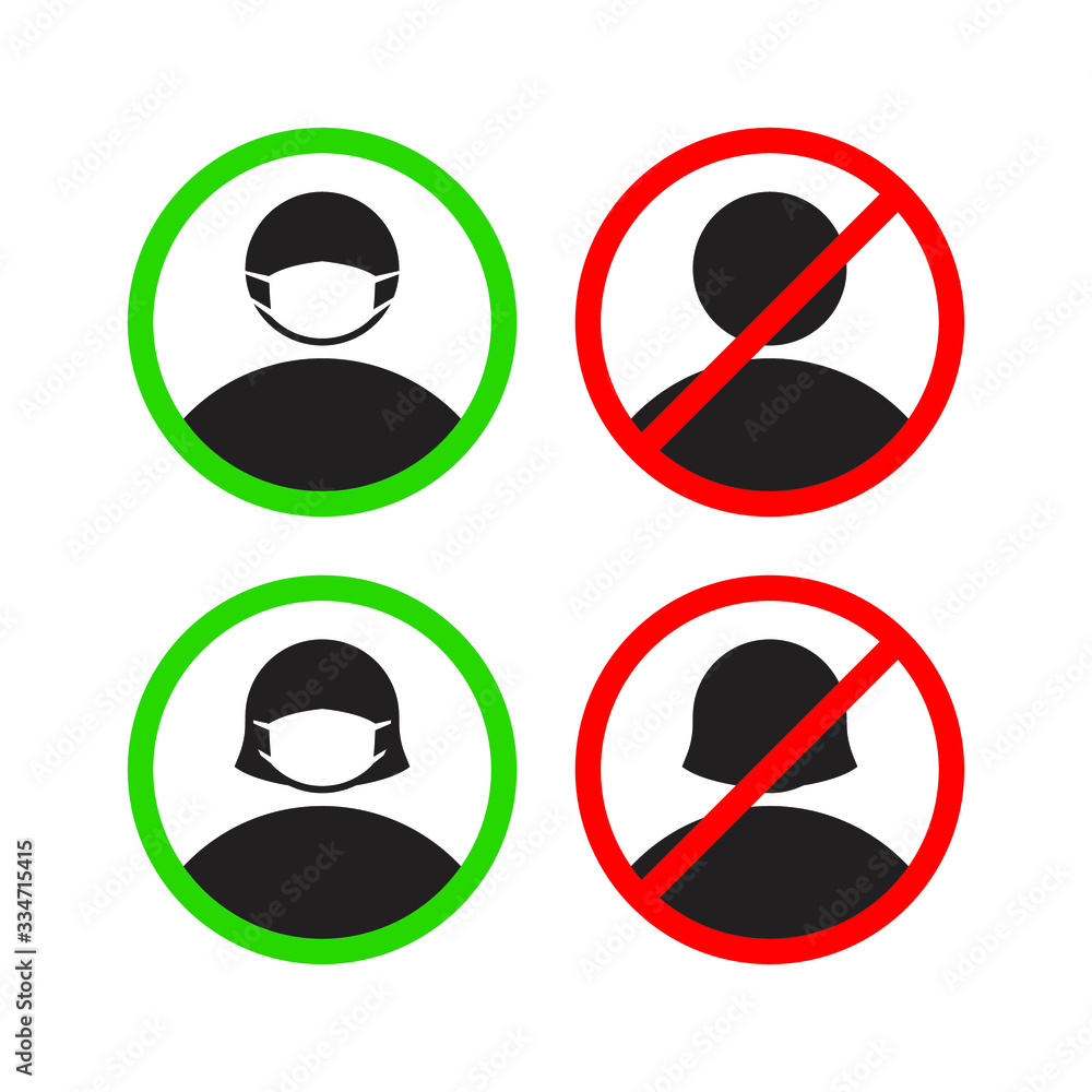 Fototapeta Please use the facial nose mask mark. Symbols can be used during a virus pandemic, such as: coronavirus or covid 19 outbreak and air pollution