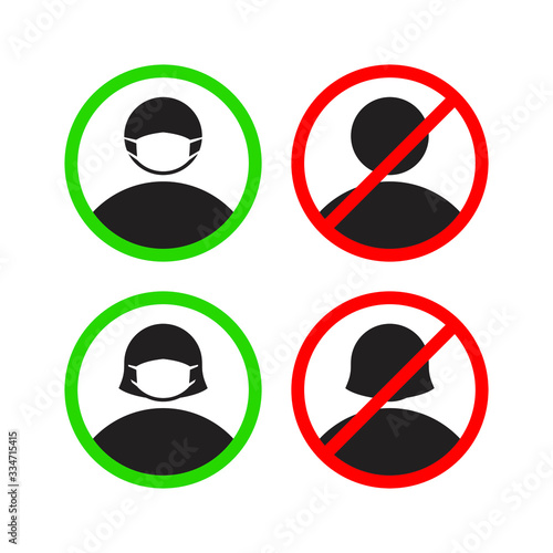 Obraz Please use the facial nose mask mark. Symbols can be used during a virus pandemic, such as: coronavirus or covid 19 outbreak and air pollution - fototapety do salonu