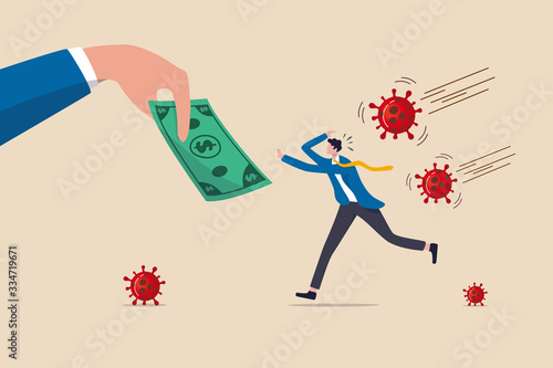 Fototapeta Coronavirus crisis economic stimulus package, money helping policy government give money to people to stimulate economics concept, businessman running to hand give money banknote with pathogen. obraz