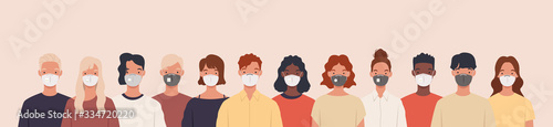Fotografiet Group of people wearing medical masks to prevent disease, flu, air pollution, contaminated air, world pollution
