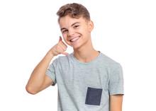 Portrait Of Teen Boy Making Ph...