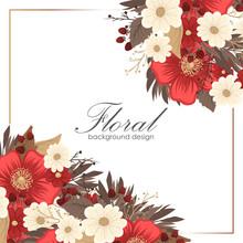 Flower Border Drawing - Red Frame