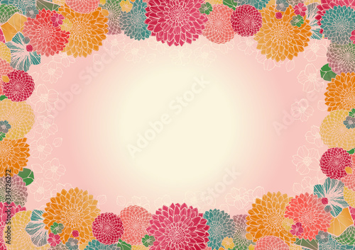 Fotografie, Obraz レトロで豪華な和柄の背景素材 ピンク 和風 日本 花柄 結婚式 年賀状素材