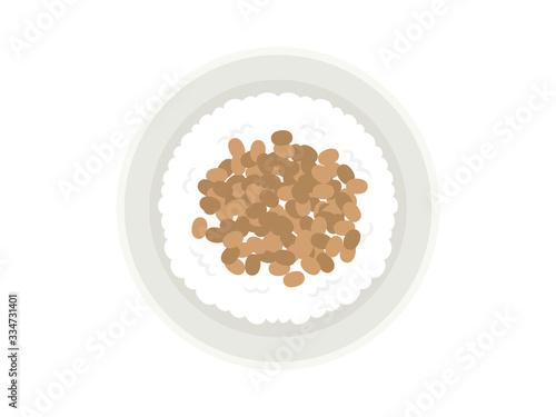 納豆ご飯のイラスト Fototapeta