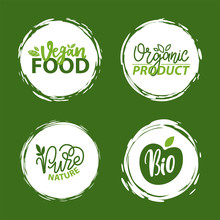 Fresh Vegan Food Label, Green Poster Natural And Herbal Product, 100 Percent Organic, Healthy Product, Set Of Emblem, Market Sticker Vector. Menu Logo On White Abstract Watercolor Lable