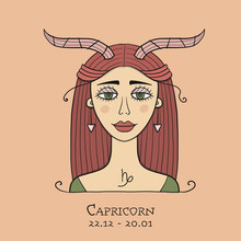Illustration Of Capricorn Zodiac Sign. Element Of Earth. Beautiful Girl Portrait. One Of 12 Women In Collection For Your Design Of Astrology Calendar, Horoscope, Print.