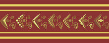 Gold Geometrical Raster Ornament, Frame Or Border On Maroon Background. Horizontal Row Of Unusual Hand-draw Elements