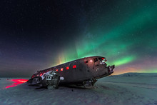 Northern Lights Over Plane Wre...