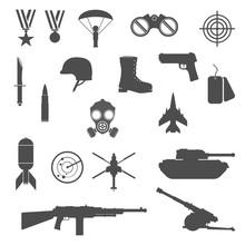Military War Icon Set - Vector Illustration Black Silhouette.