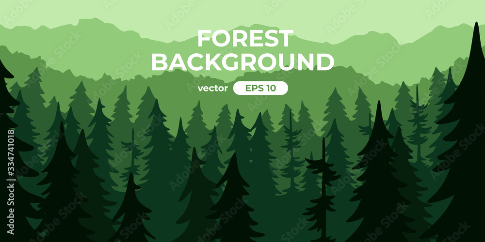 Fototapeta Seamless forest landscape. Colorful silhouette with trees, pines, firs, mountains and hills. Layered background with parallax effect. Flat style vector illustration. Simple cartoon design.