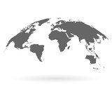 3D Globe Map Template Monochrome, Map of the World with Shadow Isolated on White Background. Vector Illustration