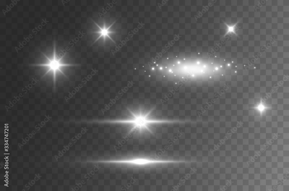 Fototapeta Flare light effect isolated on transparent background. Sun flash rays and spotlight  beams set. Glow star burst with sparkles..