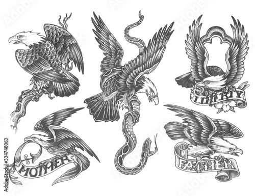 Fotografija eagles tattoo set