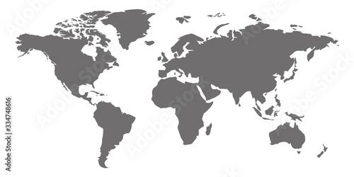 Fototapeta mapa świata   a-simplified-map-of-the-world-stylized-generalized-gray-card-on-a-white-background-in-flat