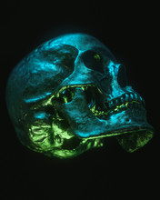Neon Black Skull Isolated On Black Background